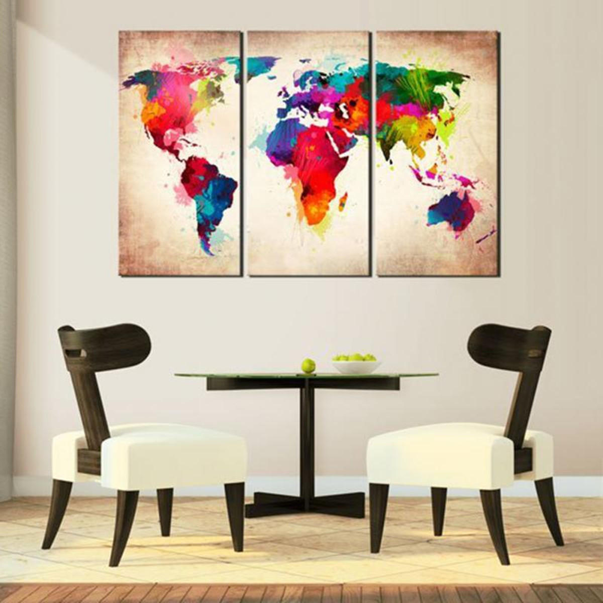World Map Decorations 3 Pcs Abtract World Map Canvas Print Paintings Wall Art Picture Decor Unframed Home Decorations