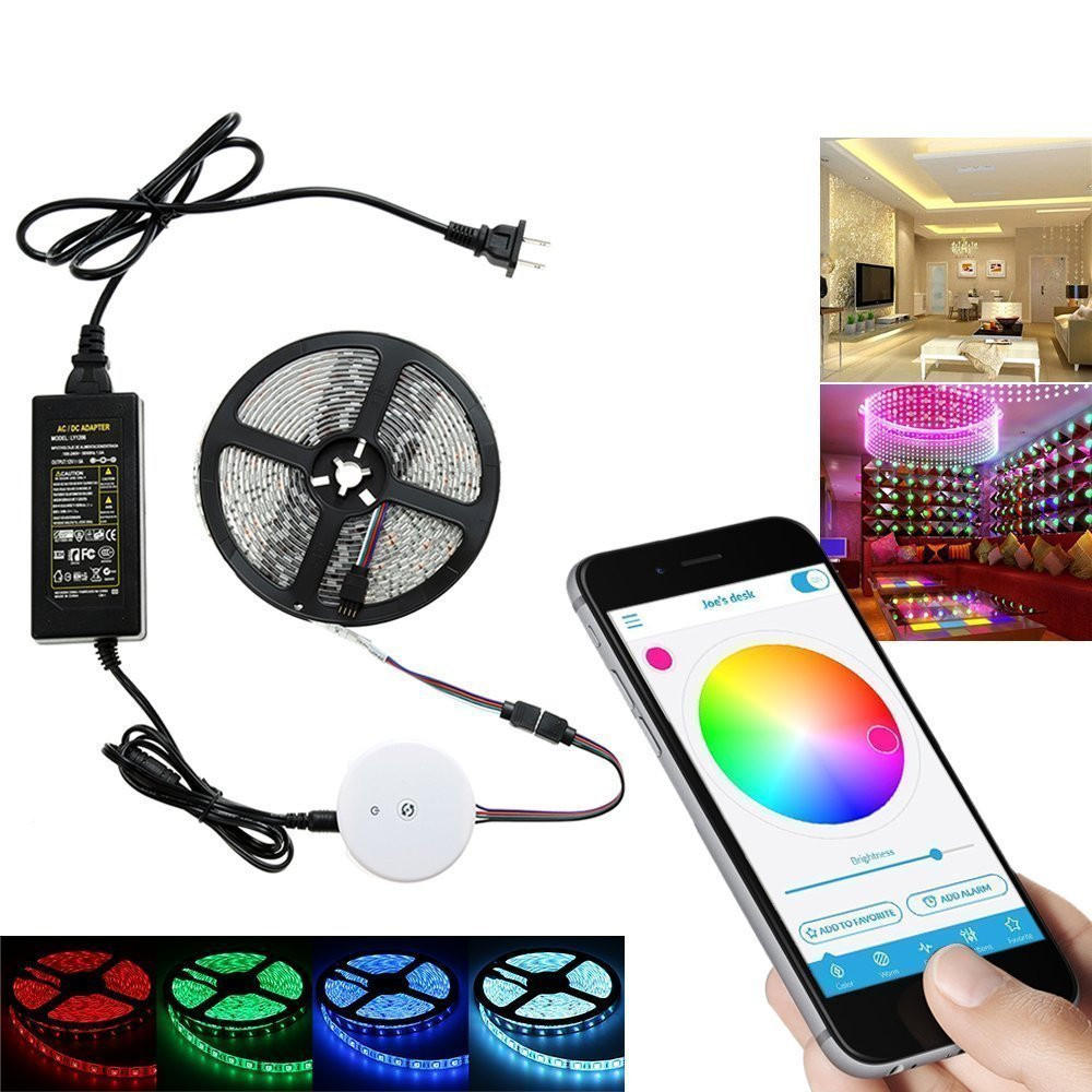12v Led Strip Light 5m 60w Smd5050 Non Waterproof Bluetooth App Control Rgb Led Strip Light Kit 12v 5a Power Adapter