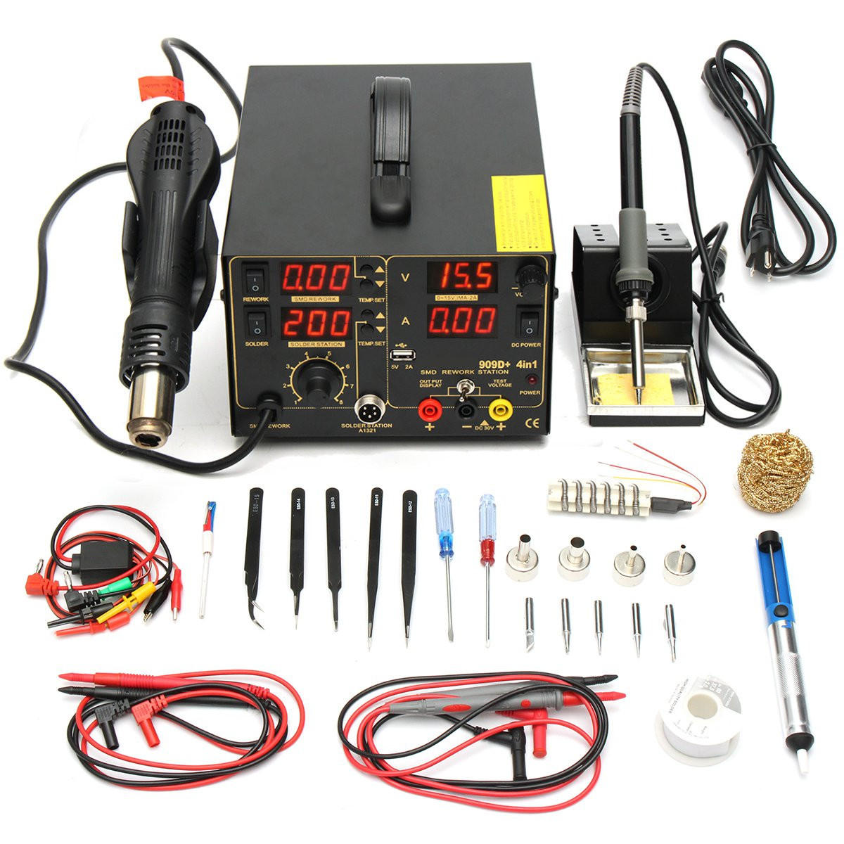 Heat Air 110v 800w 4 In 1 909d Rework Soldering Station Power Supply Hot Heat Air Gun Soldering Iron Kit
