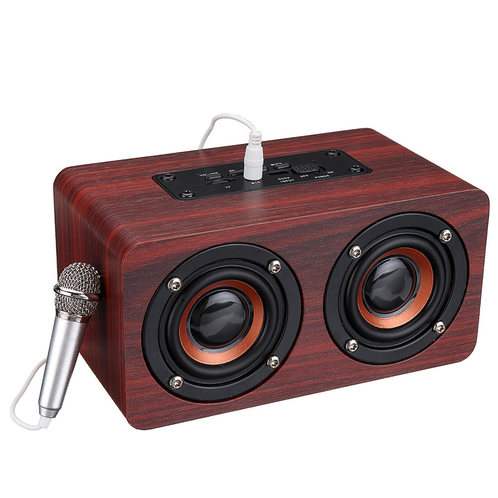 Box Bluetooth Wooden Stereo Bass Bluetooth 4 2 Speaker Audio Music Box With Mini Microphone
