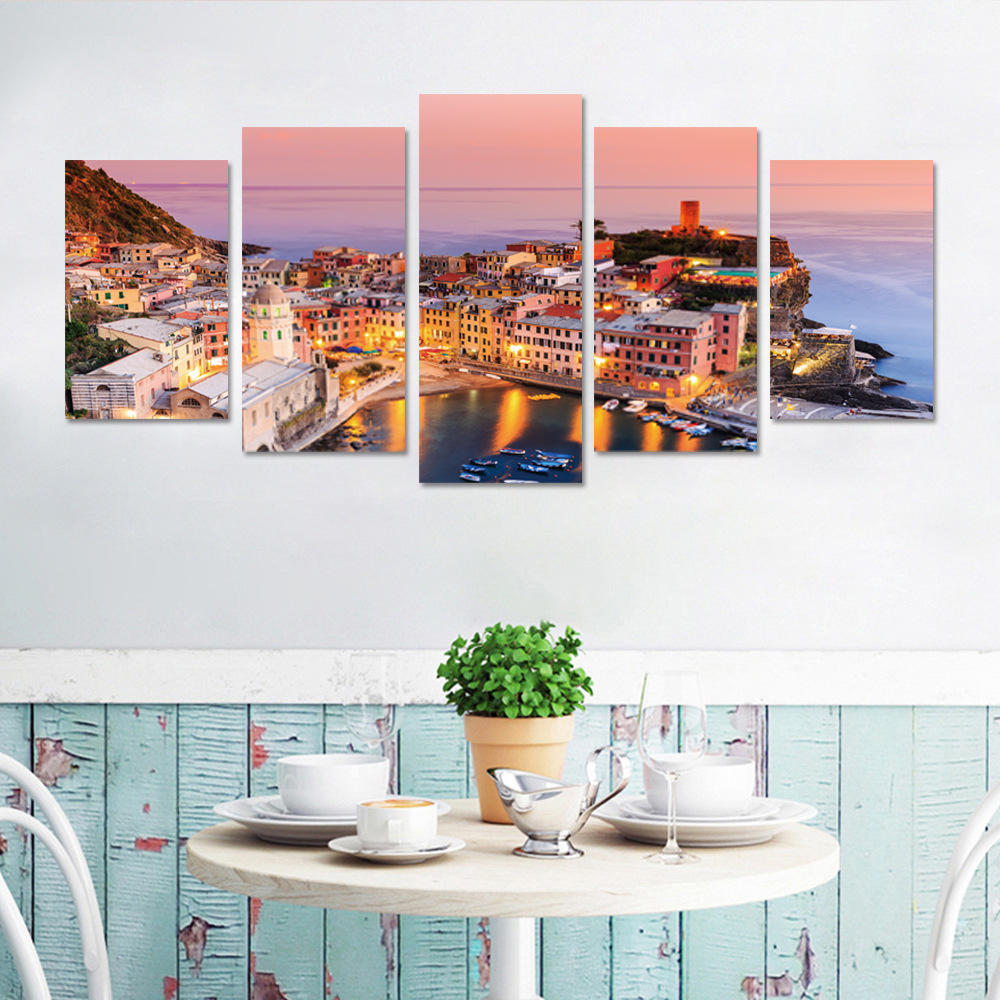 Living Room Paintings 5 Panel Frameless Print Italian Town Oil Paintings On Canvas Wall Picture For Living Room Decor