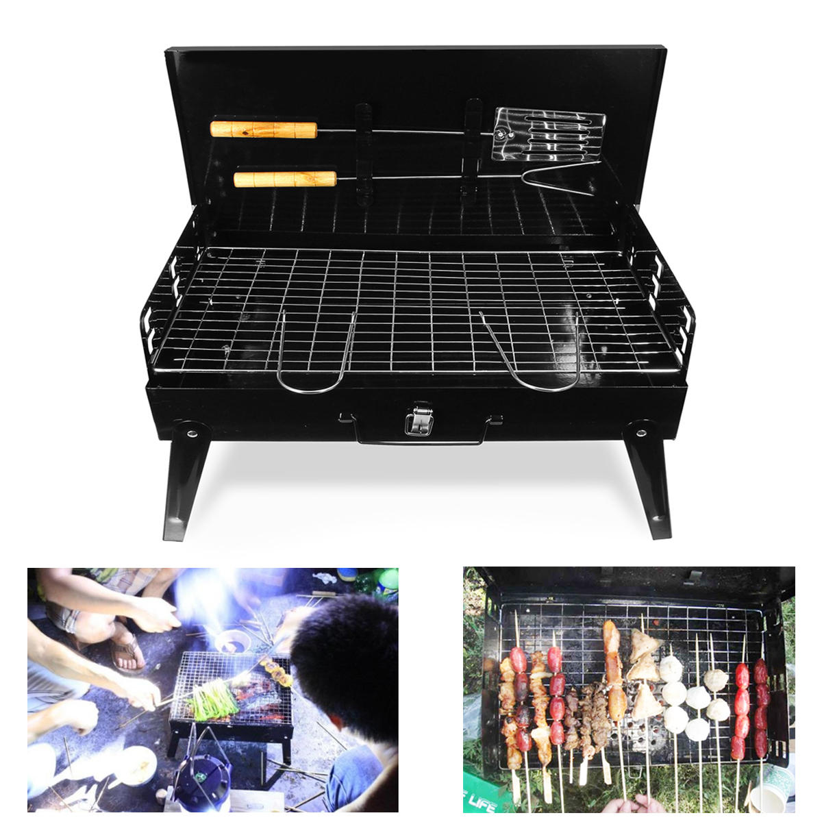 Grill Camping Folding Portable Bbq Barbecue Grill With Tools Charcoal Camping Garden Outdoor Cooking Ware