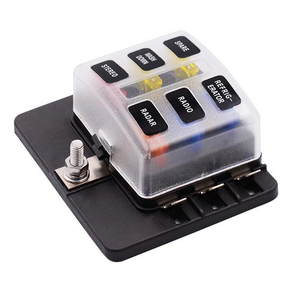 imars™ cs-579b1 6 way blade fuse box holder with led warning light