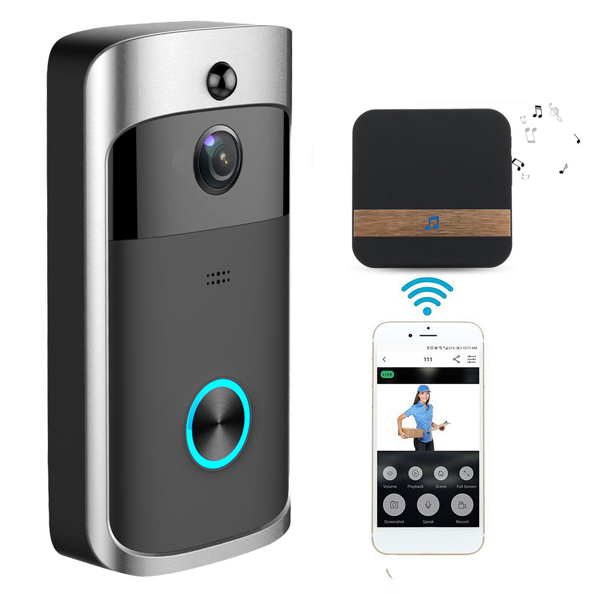Draadloze Deurbel Met Camera Us 37 77 49 Off Wireless Camera Video Doorbell Home Security Wifi Smartphone Remote Video Rainproof Security Protection From Electronics On