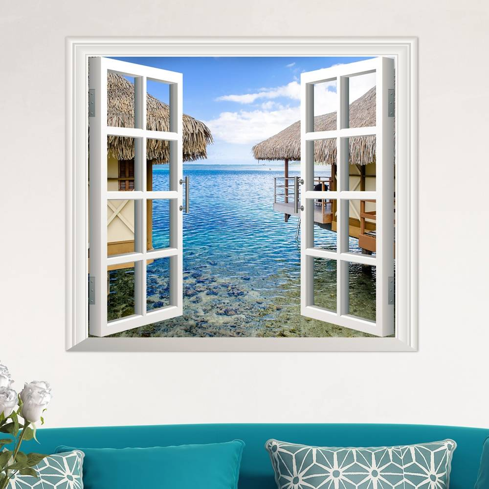 3d Wall Decor 3d Artificial Window View 3d Wall Decals Sea View Room Stickers Home Wall Decor Gift