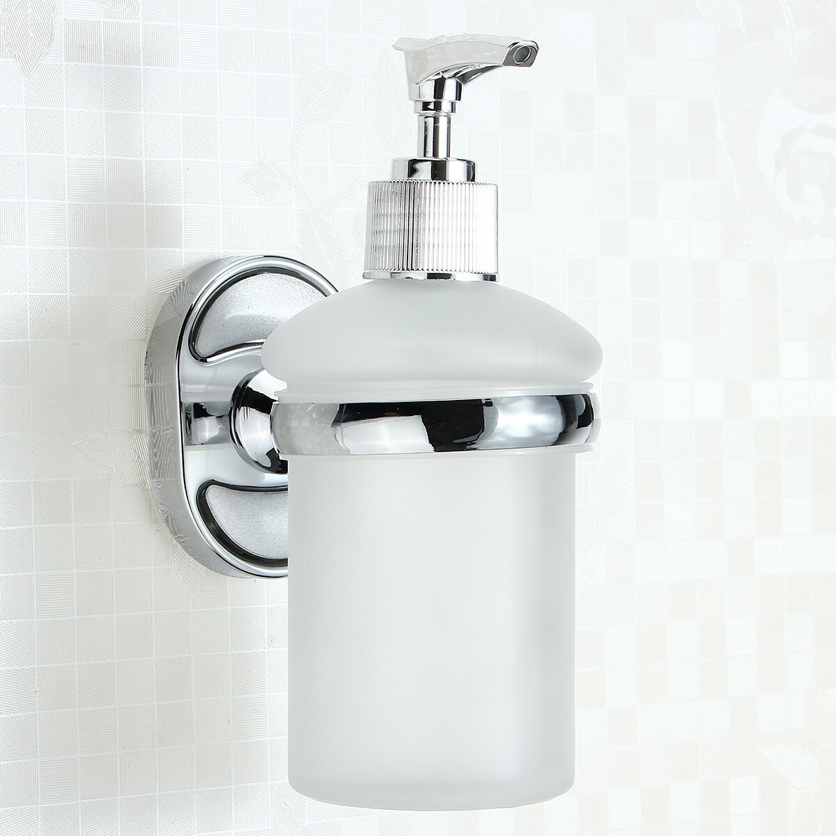 Soap And Shampoo Dispenser Stainless Steel Wall Mounted Soap Dispenser Holder Shampoo Bottle Frosted Glass