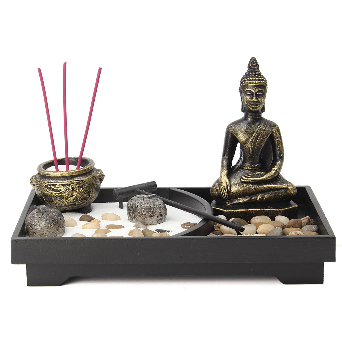 Table Top Zen Garden Zen Garden Kit Meditation Sand Rocks Candle Candle Holder Rake Tabletop Home Decorations
