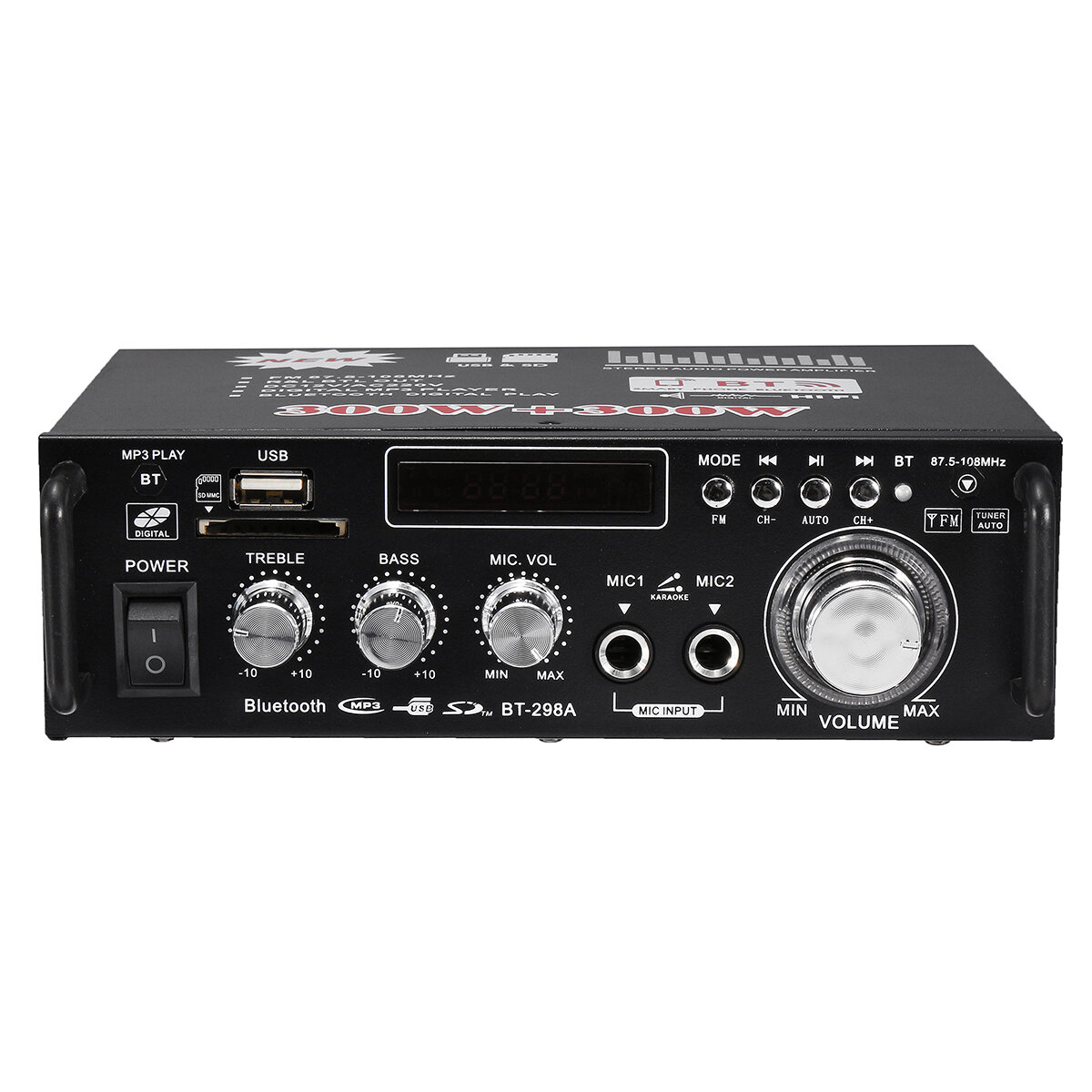 Hifi Bluetooth Bt 298a 12v 220v Hifi Audio Stereo Power Amplifier Bluetooth Fm Radio 2ch 600w