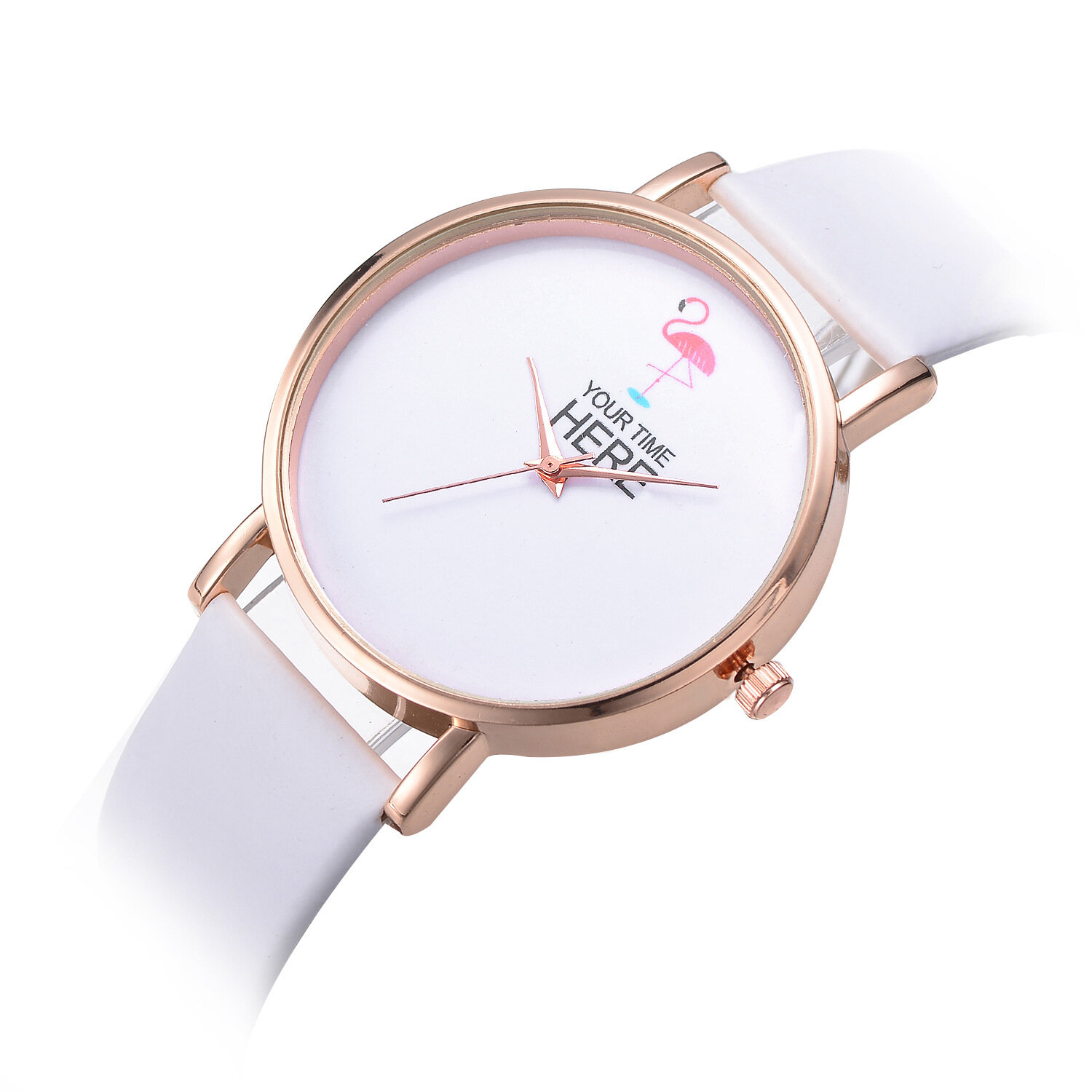Leather Strap Rose Gold Watch Casual Style Women Wrist Watch Rose Gold Case Leather Strap Quartz Watch