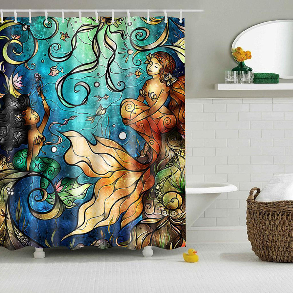 Mermaid Scale Shower Curtain Waterproof Mermaid Scenery Pattern Fabric Shower Curtain Panel Sheer 180 X 180cm