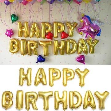 16 pulgadas globos letras del alfabeto la hoja de oro feliz