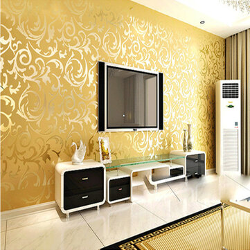3d Wallpaper For Home Wall Bangalore 10mx53cm Wallpaper Rolls Silver Golden Apricot Luxury