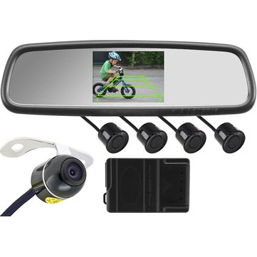 43 Inch Car Rear View Mirror + Butterfly Camera + 4 Search Radar +  Complete Wiring Harness