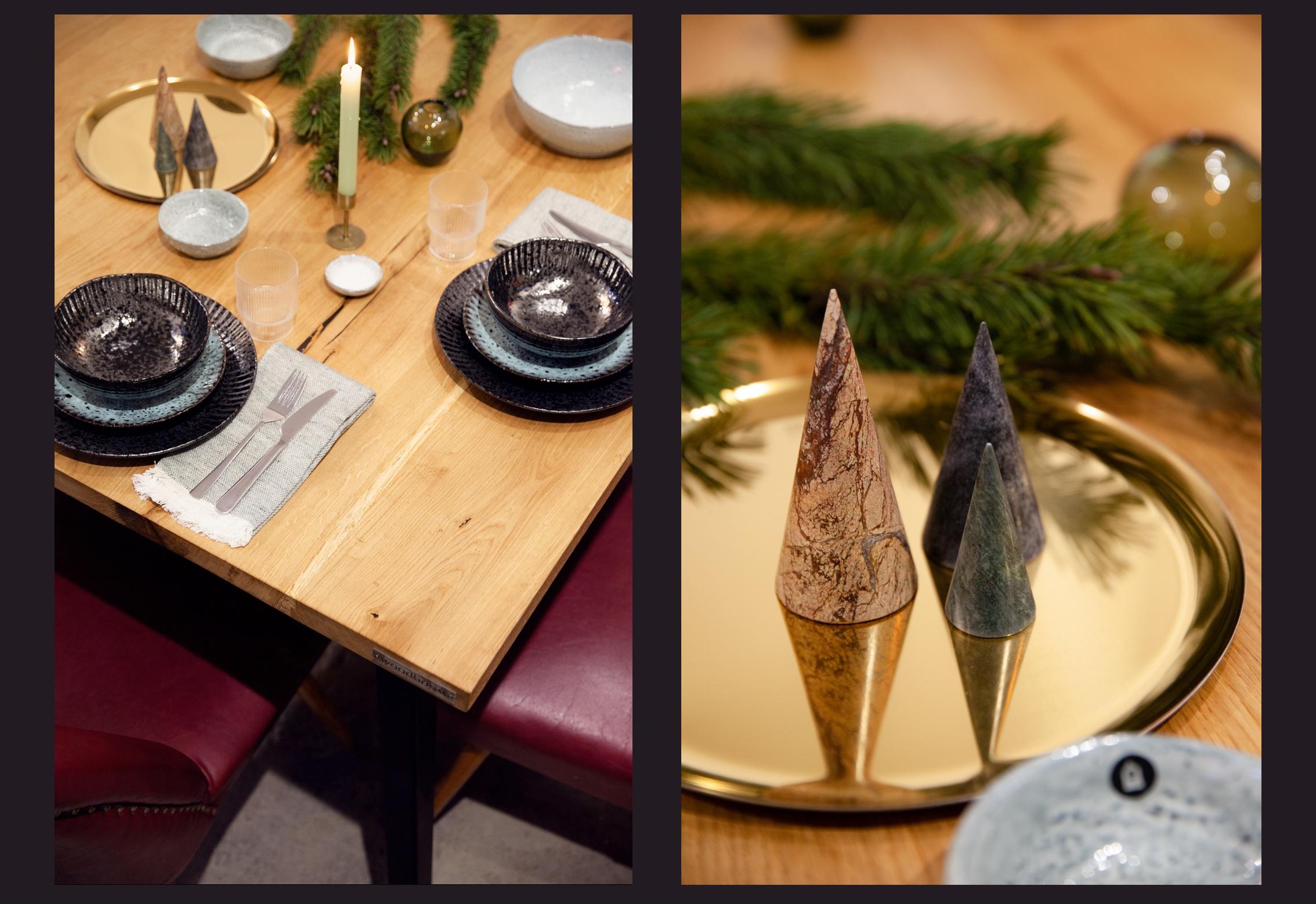 Tischdeko Weihnachten Holztisch Minimalistische Tisch Deko Zu