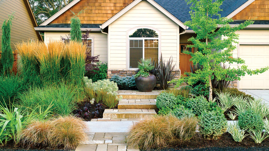 front garden design with middle stone rock landscaping ideas for yard