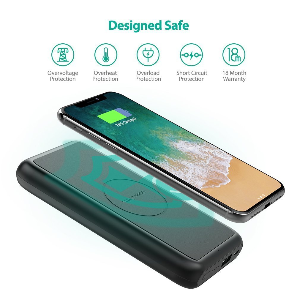 Wireless Battery Charger Deal Save On Ravpower S 10000mah Qi Wireless Battery Charger