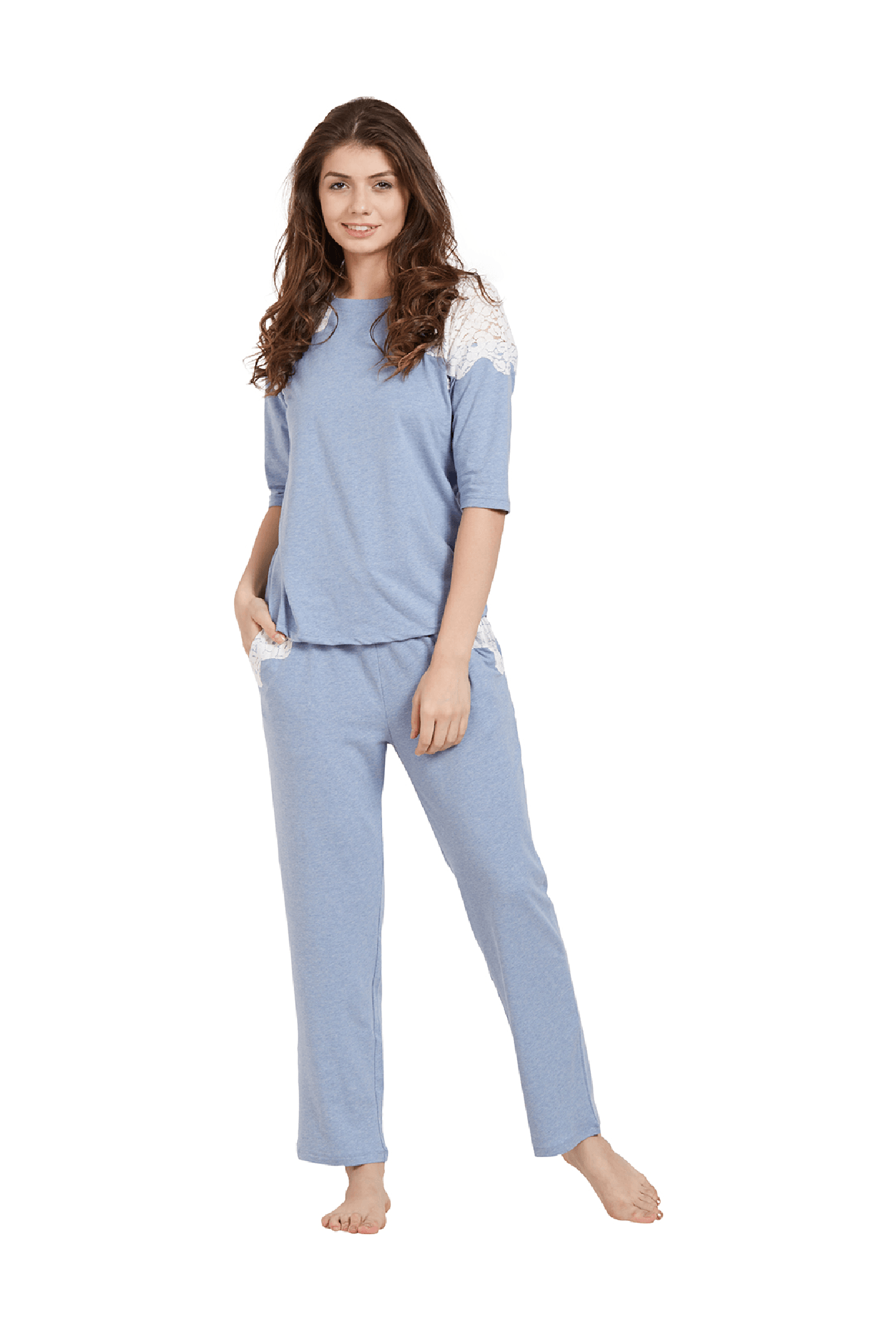 Pyjama Soie Buy Soie Blue Cotton Top With Pyjamas For Women Online Tata Cliq