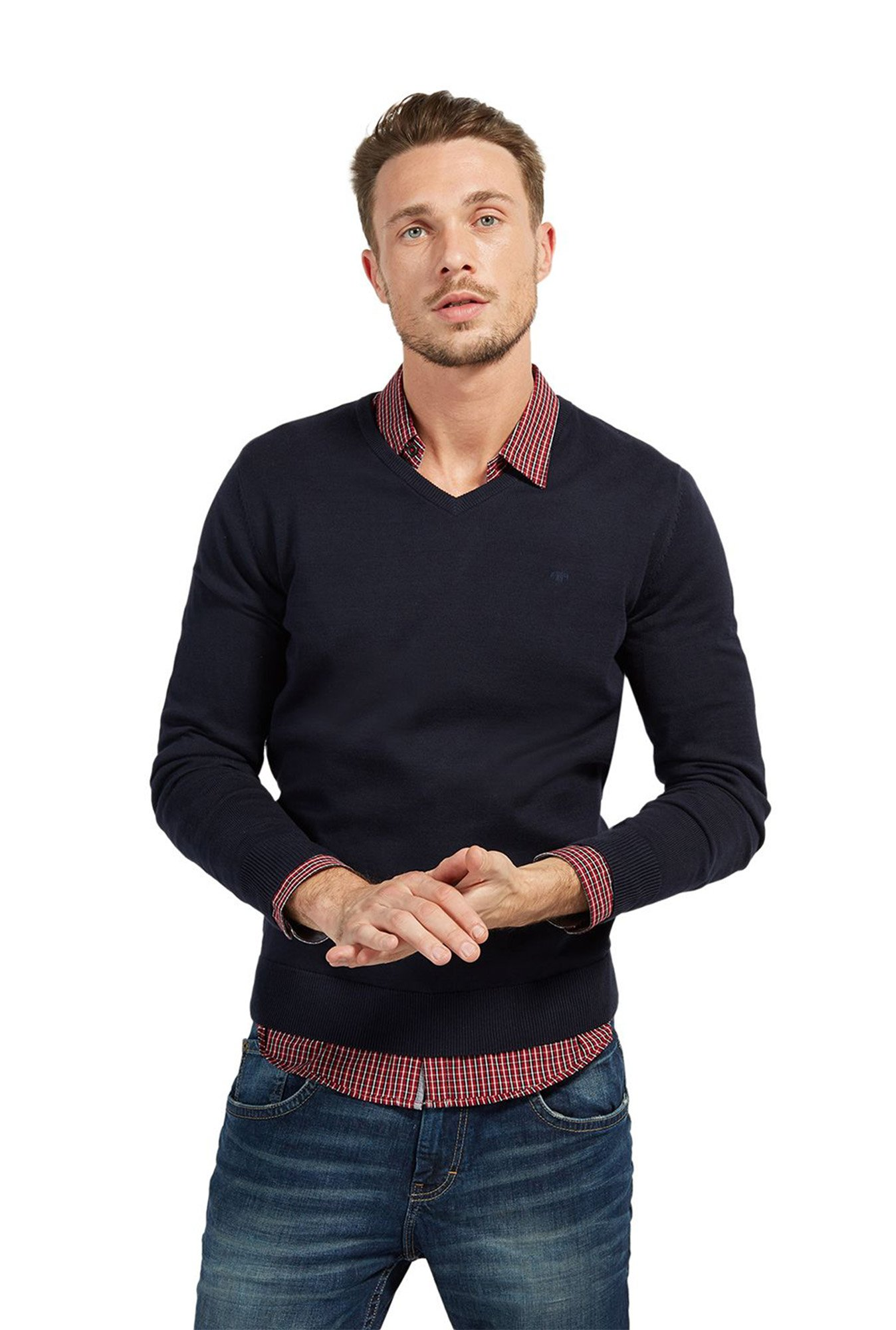 Tom Teiler Buy Tom Tailor Navy V Neck Sweater For Men Online Tata Cliq