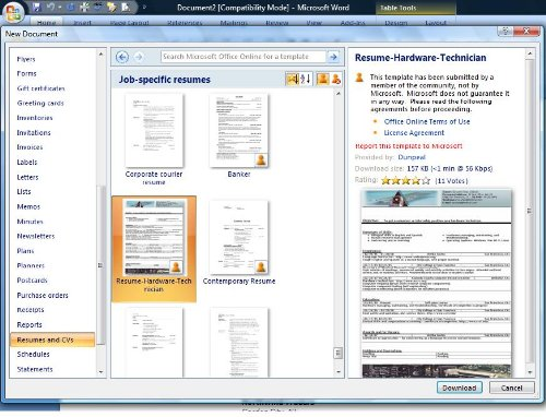 Free resume templates in Word format Techblissonline - Free Resume Microsoft Word Templates