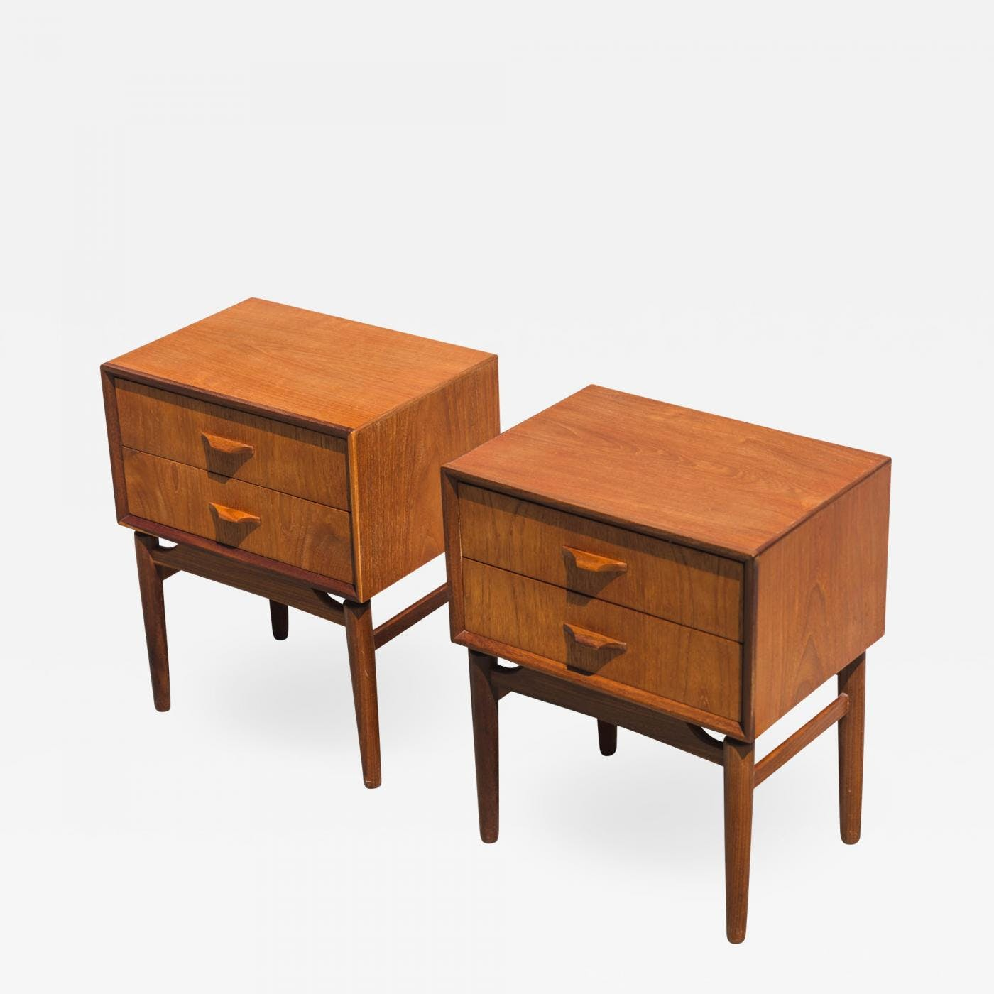 Danish Bedside Table Pair Of Danish Modern Teak Bedside Tables The Blue Door