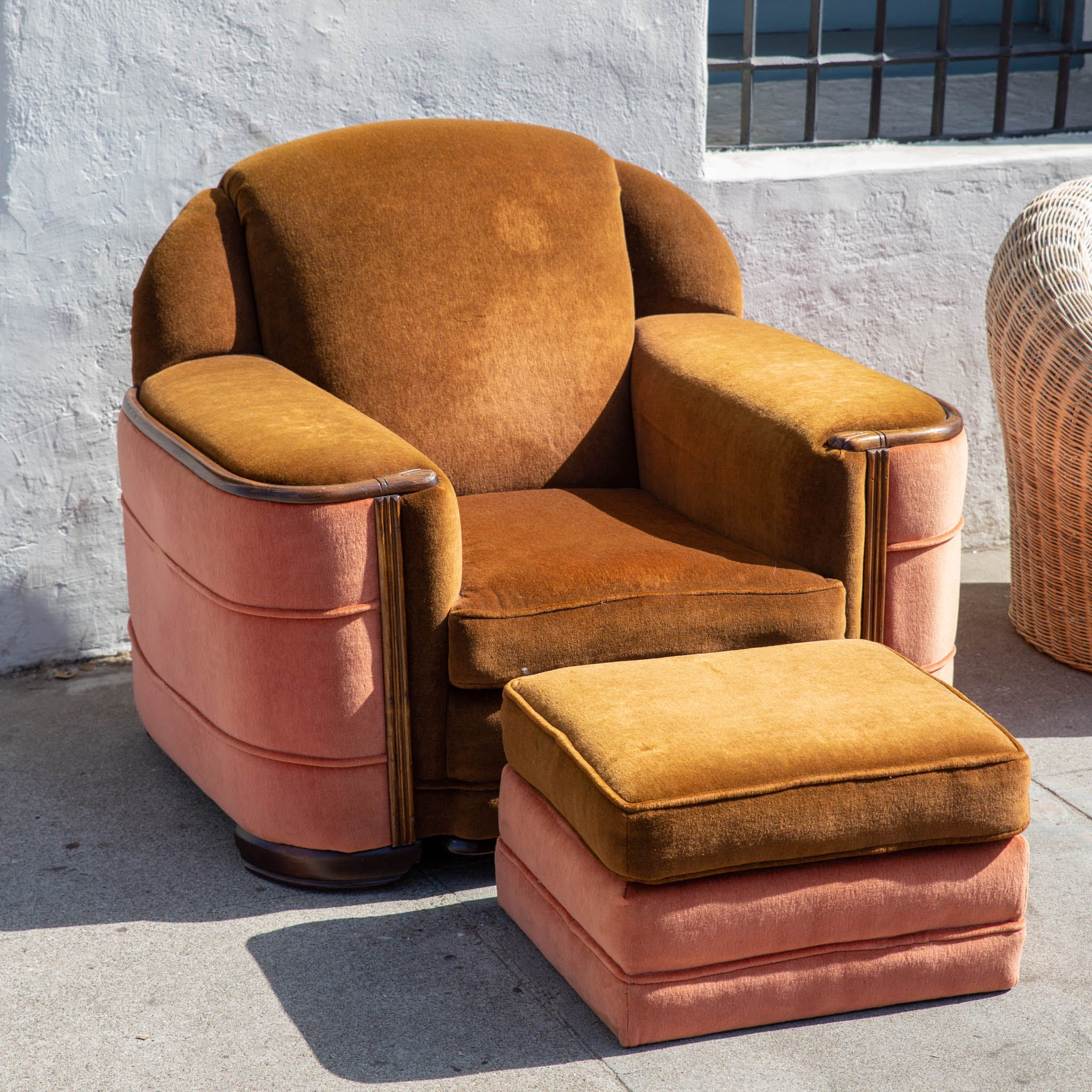 Ottoman Upholstery 1920s Art Deco Club Chair And Ottoman With Original Upholstery