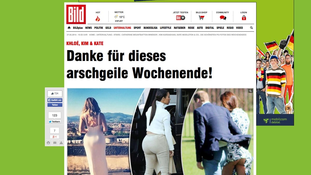 Bild Online Shop Pictures Of Kate Middleton S Bare Butt Published In German Newspaper