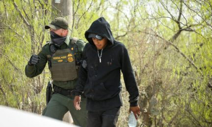 Border Patrol agents arrest seven illegal immigrants who tried to evade capture near Penitas, Texas, on March 15. 2021. (Charlotte Cuthbertson/The Epoch Times)