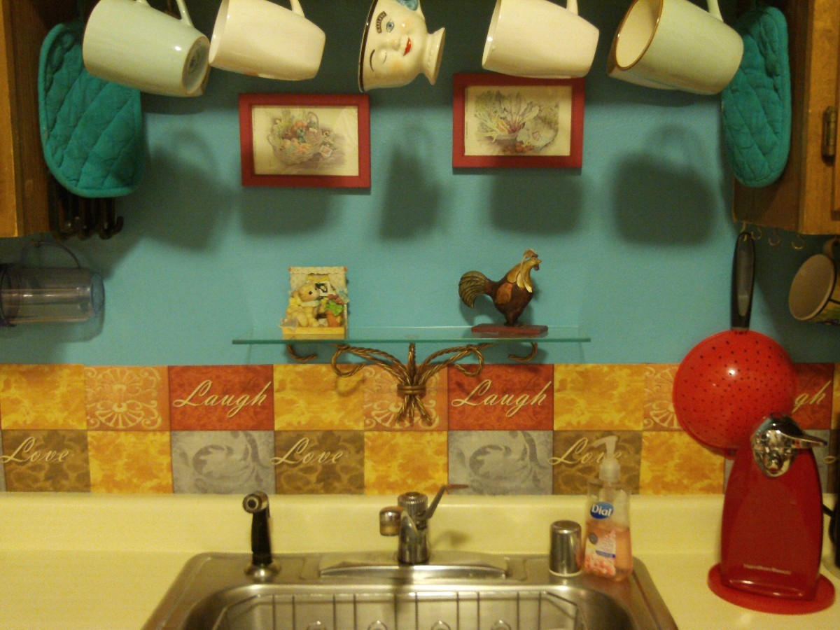 Backsplash Behind Sink Diy Dollar Store Placemat Backsplash Thriftyfun