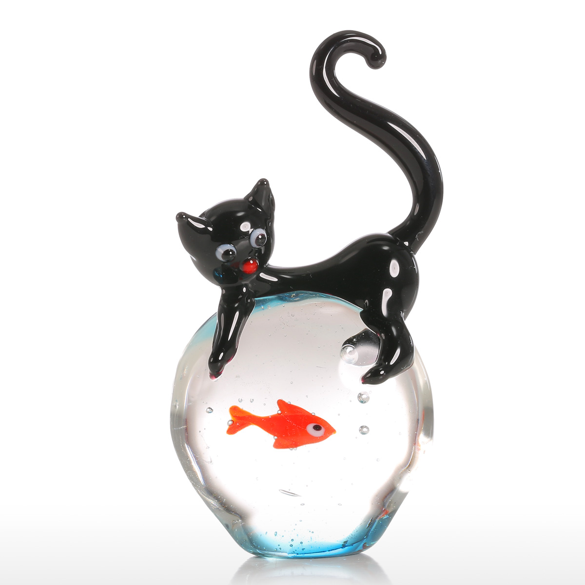 Animal Figurines Home Decor Best And Cheap Black And Red Tooarts Cat And Goldfish Gift