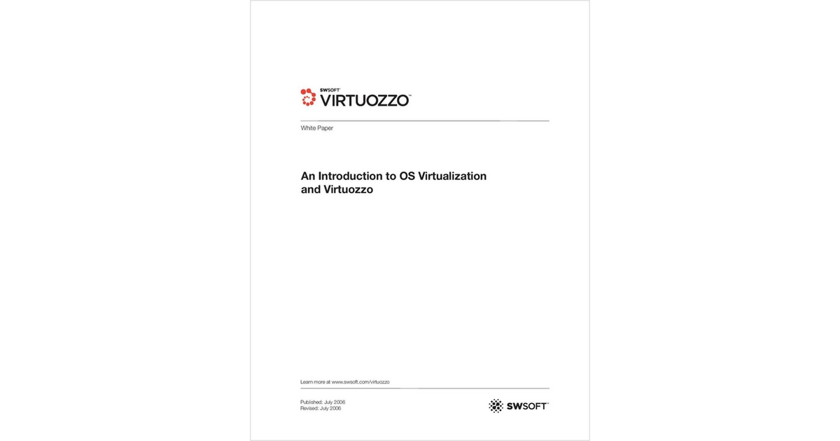 An Introduction to OS Virtualization and Virtuozzo Free White Paper