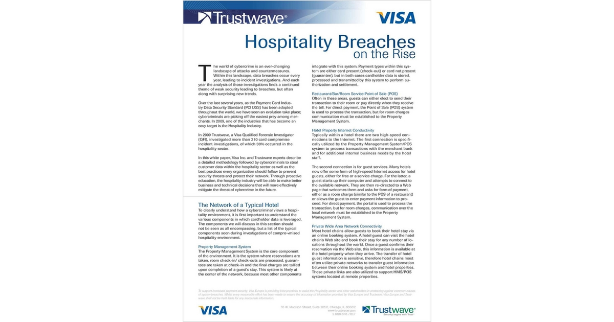 Hospitality Breaches on the Rise, Free Trustwave White Paper