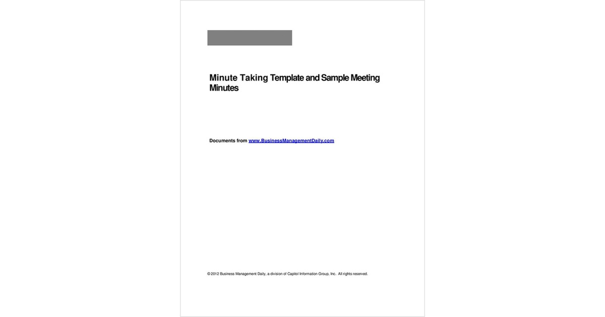 Minute Taking Template and Sample Meeting Minutes, Free Business