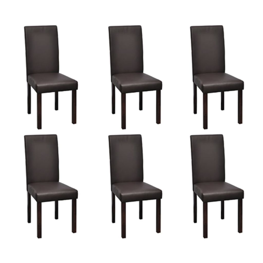Lot De 6 Chaises Marron Dès 239 99 Lot De 6 Chaises De Salle à Manger Simili Cuir Marron Interougehome