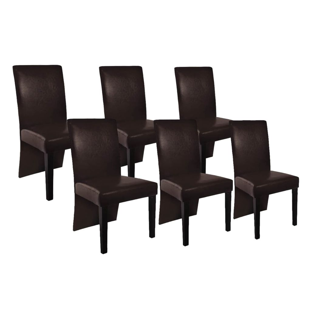 Lot De 6 Chaises Marron Dès 249 99 Lot De 6 Chaises Simili Cuir Marron Interougehome