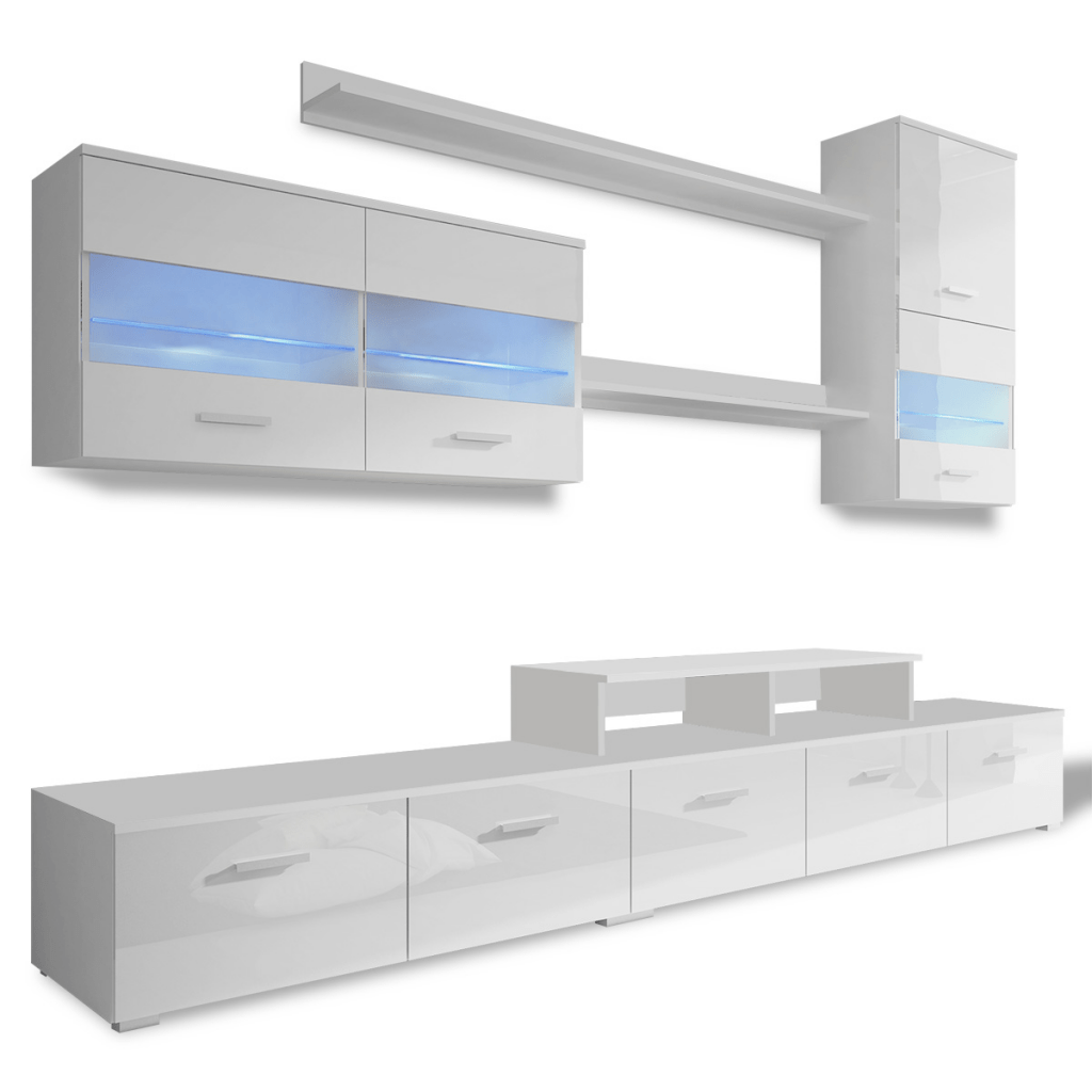 Sideboard 250 Cm White 7 Piece White High Gloss Wall Display Cabinet Tv Unit Led Light 250 Cm Lovdock