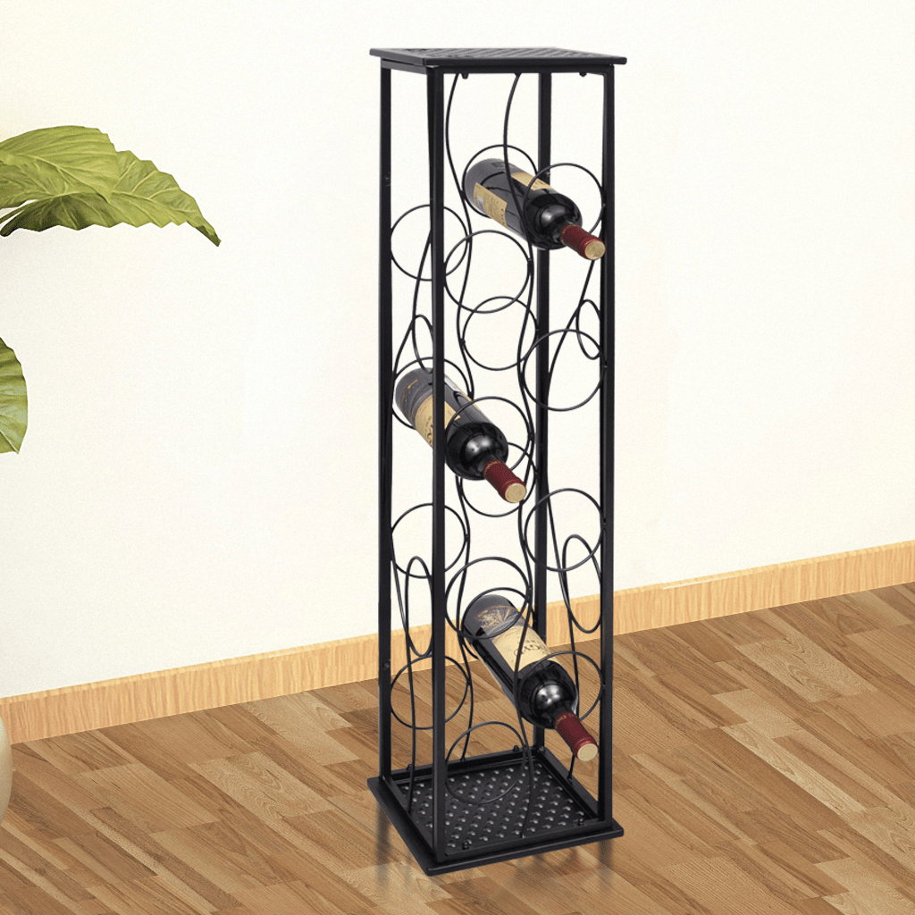 Wine Holder Stand Black Metal Wine Rack Wine Stand For 8 Bottles Lovdock