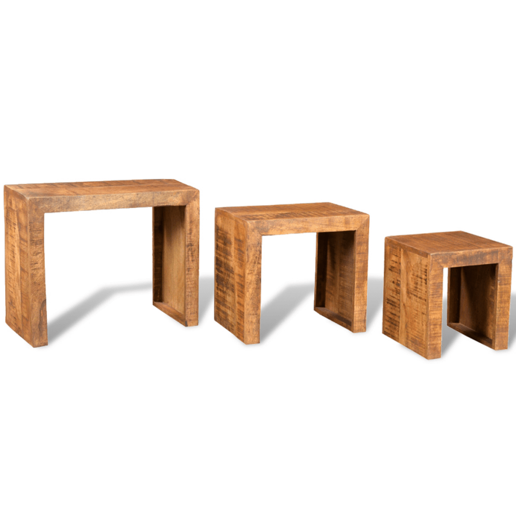 Table Gigogne En Bois Only 115 22 Antique Style Mango Bois Ensemble De 3 Tables Gigognes Lovdock