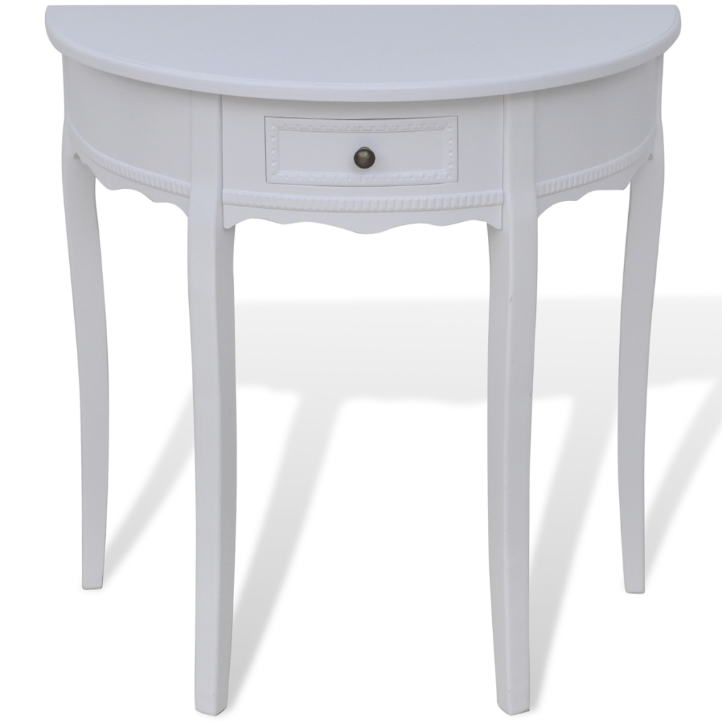 Table Demi Ronde Only 97 32 Blanc Demi Ronde Table Console Avec Tiroir Lovdock