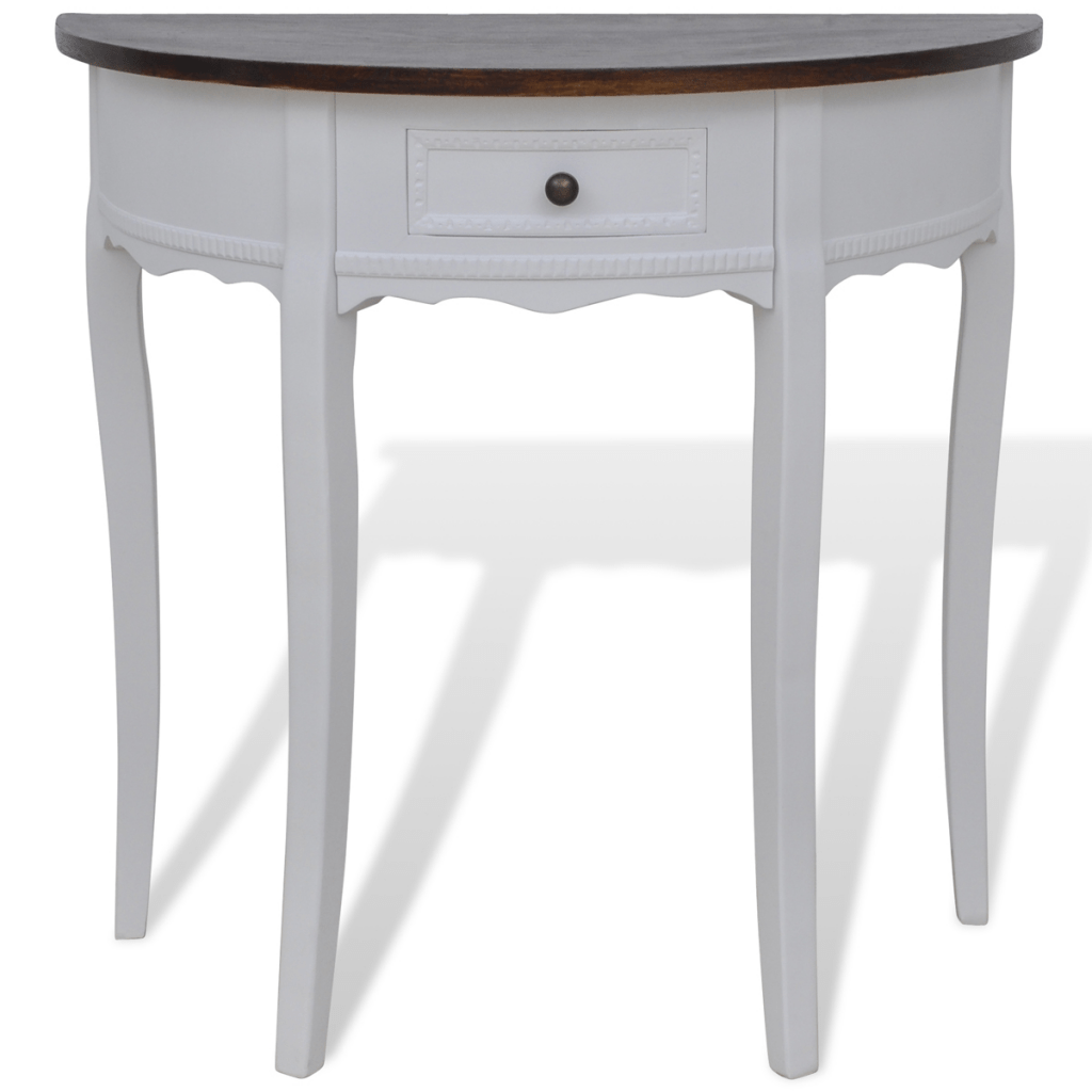 Table Demi Ronde Only 79 62 Blanc Demi Ronde Table Console Avec Tiroir Brown Top Lovdock