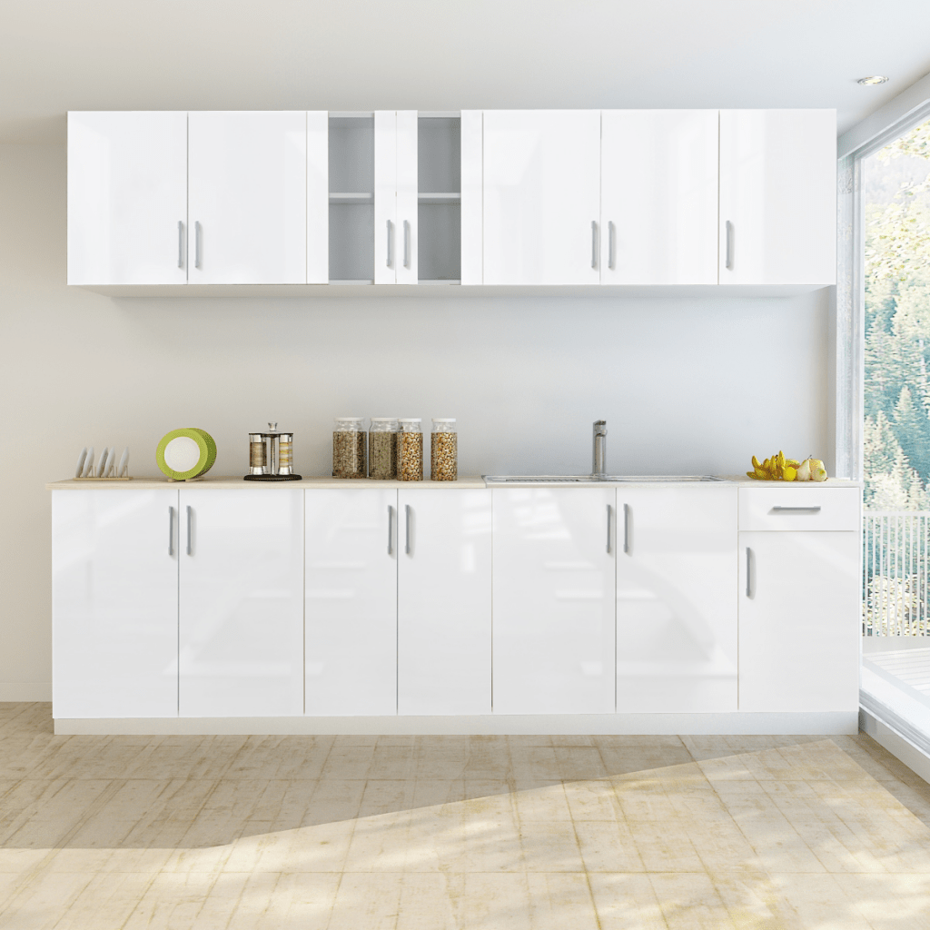 Fitted Kitchen Unit White 8 Pcs High Gloss White Kitchen Cabinet Unit With Sink Base 260 Cm Lovdock