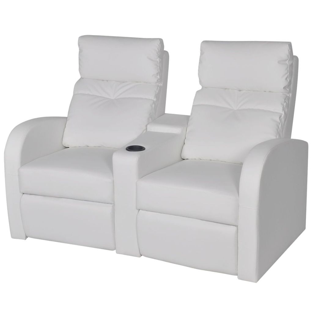 Canapé Dossier Inclinable Canapé Inclinable En Cuir Synthétique Blanc 2 Places