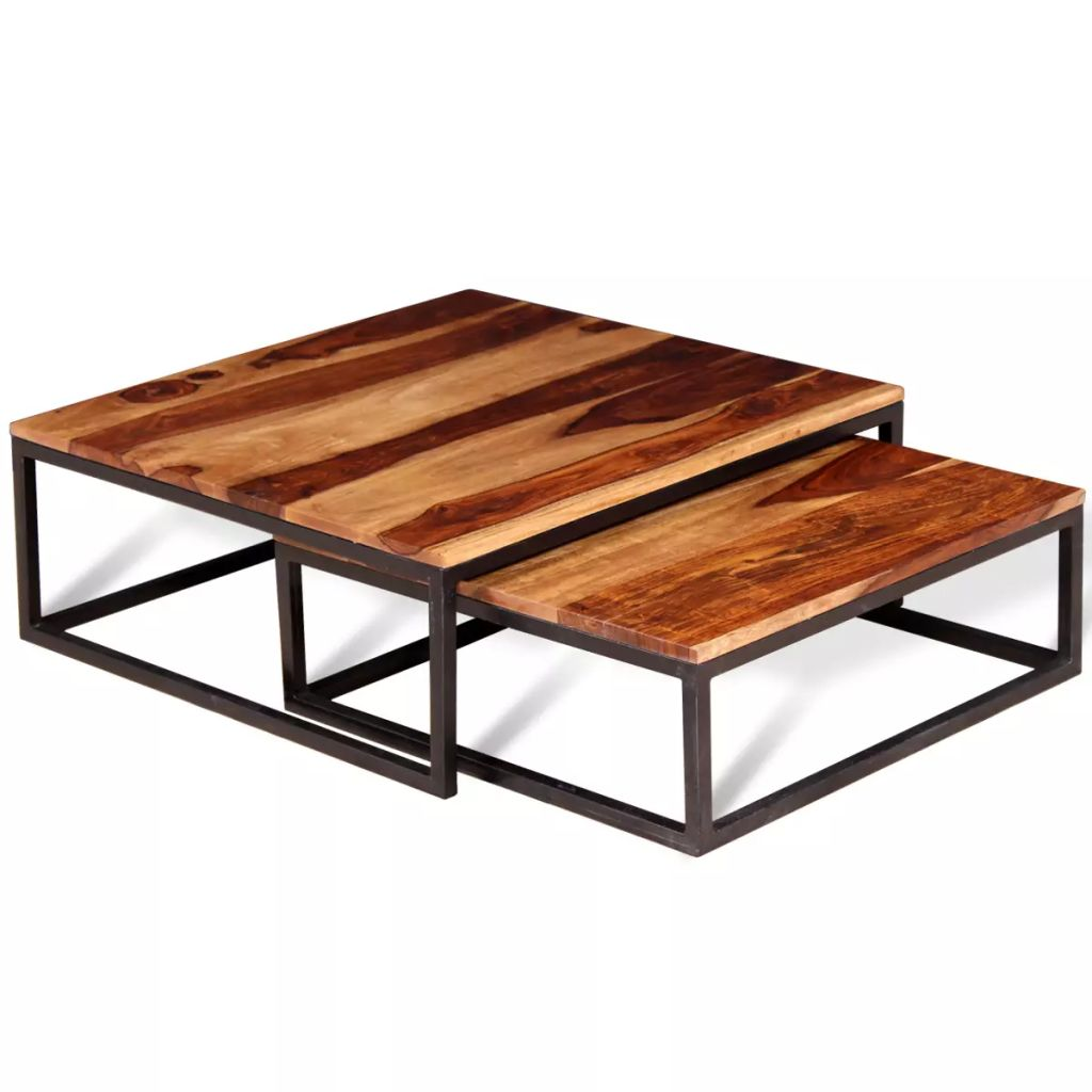 Table Basse Sheesham Dès 129 99 Ensemble De Tables Basse Gigogne En Bois De Sheesham Massif Style Industriel Interougehome