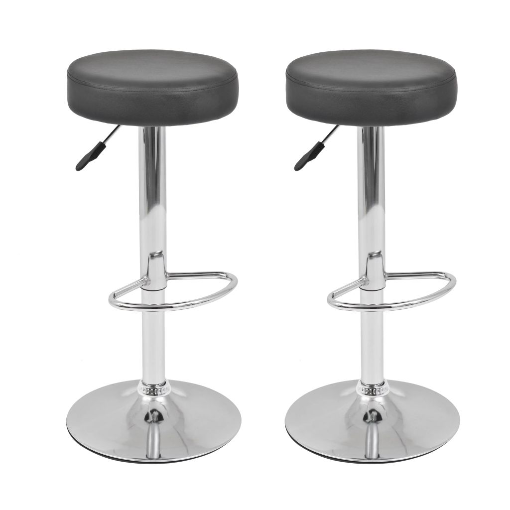 Tabourets De Bar Simili Cuir Noir Tabourets De Bar Pivotants En Simili Cuir Noir Lot De 2