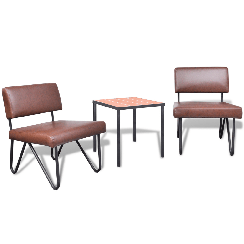 Table 2 Chaises Only 124 47 Luxueux Sofa Chair Set 2 Chaises En Cuir 1 Table Artificielle Brown Lovdock