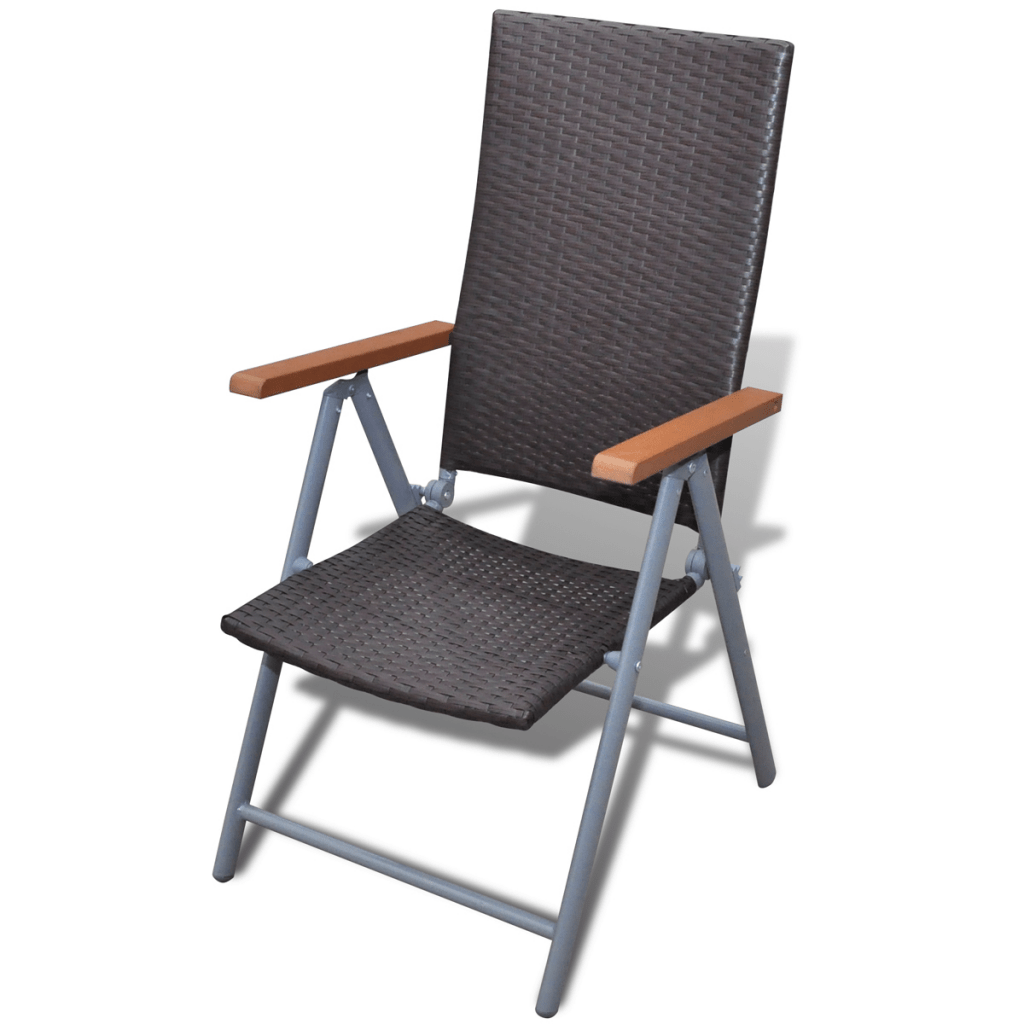 Deckchair Alu Brown 2x Poly Rattan Folding Chair Deckchair Garden