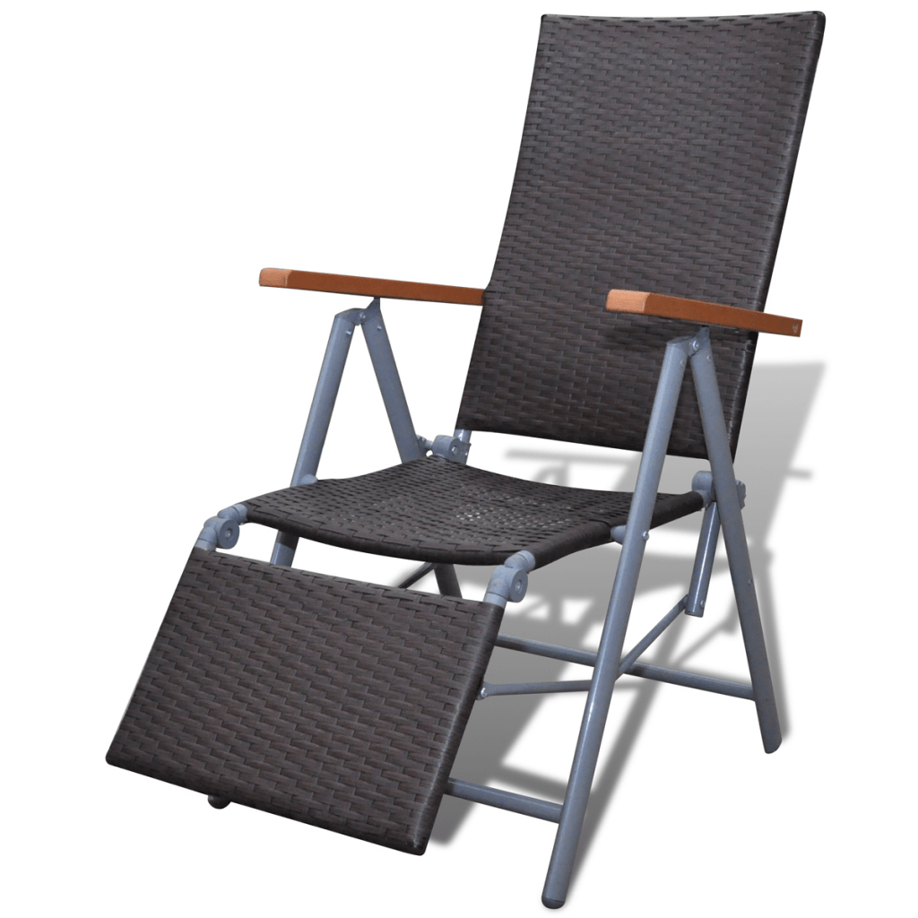 Deckchair Alu Brown Rattan Folding Chair Deckchair Garden Furniture Alu