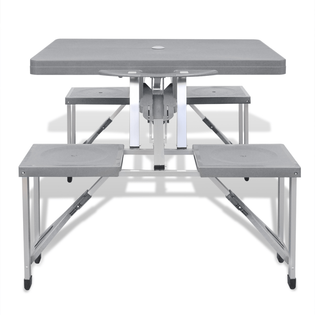 Table Camping Pliante 4 Tabourets Only 44 00 Camping Pliable Table Set Avec 4 Tabourets En Aluminium Extra Gris Clair Lovdock