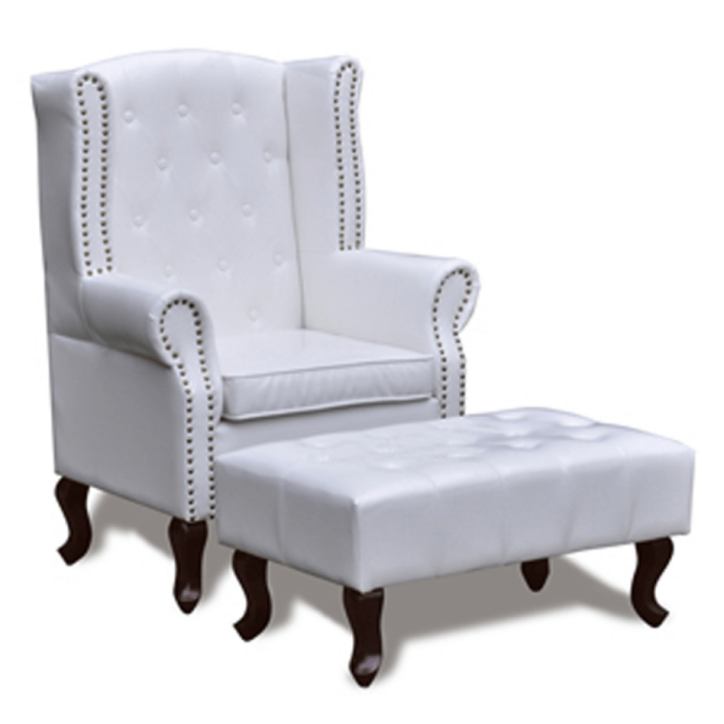 Ohrensessel Mit Hocker White Chesterfield Wing Chair With Stool White Lovdock