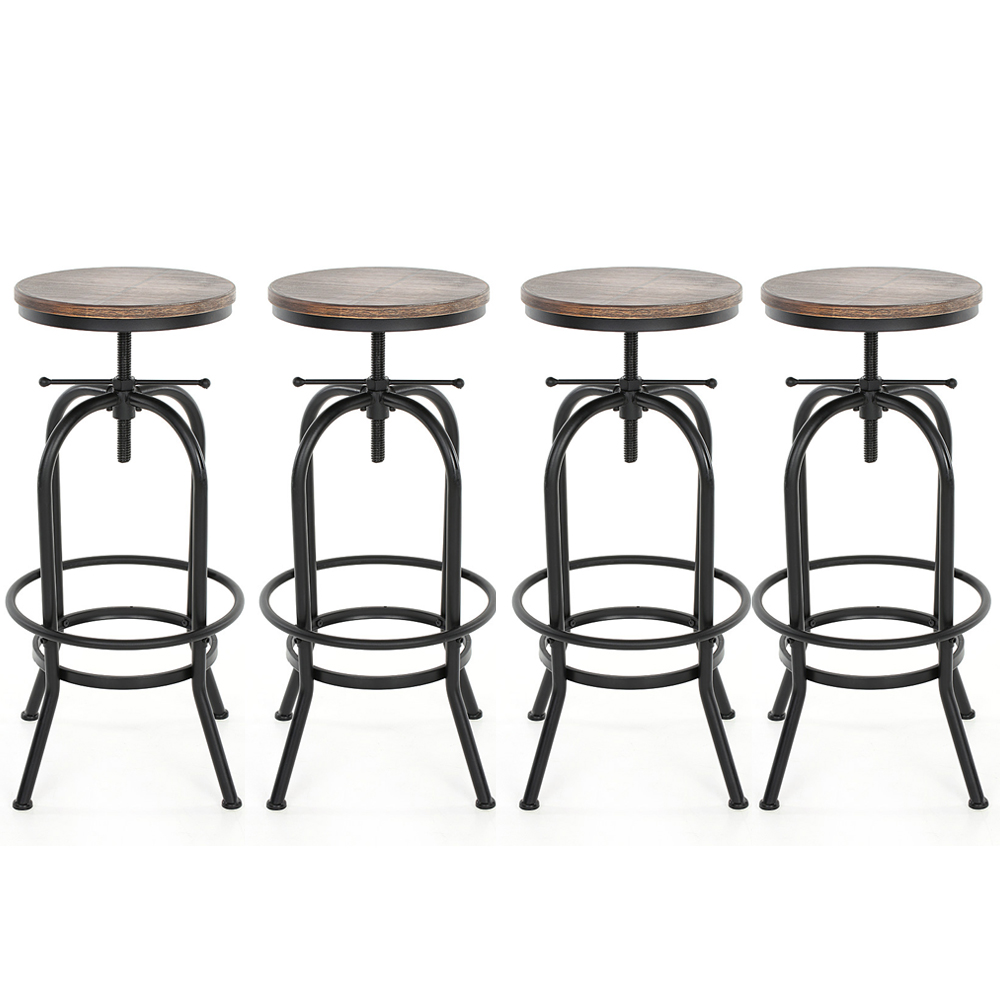 Table Valise + 4 Tabourets Lot De 4 Tabourets De Bar Style Industriel Assise En Bois Ikayaa