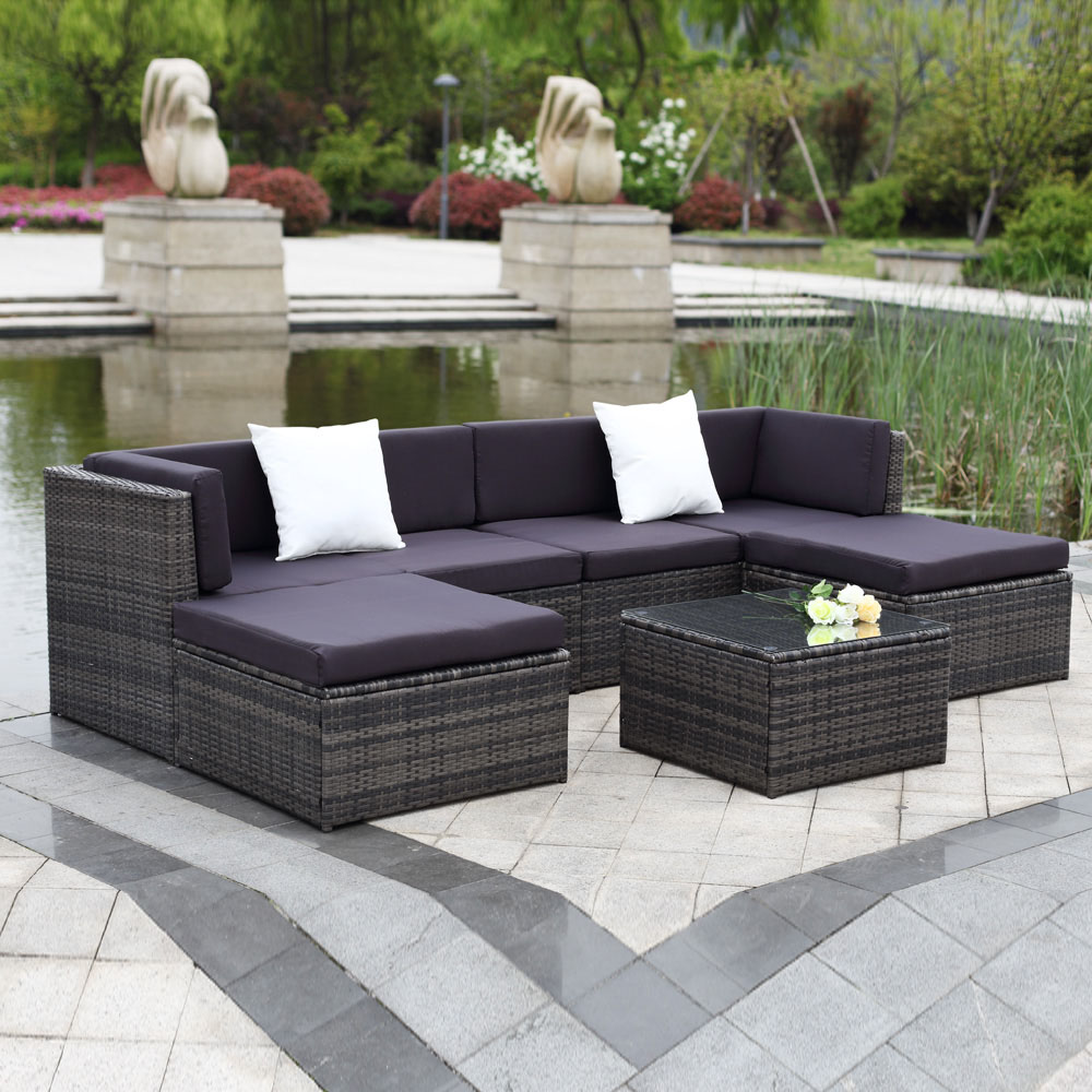 Rattan Sofa Corner Set Gray Ikayaa 7pcs Outdoor Patio Rattan Wicker Sectional Sofa Set Gray Lovdock
